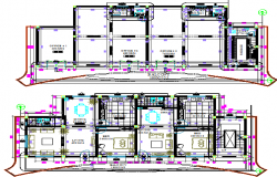 Floor plan layout details of two-story showroom dwg file