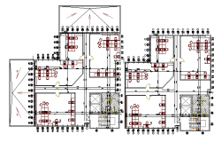 Floor plan layout of exhibition business center dwg file