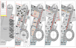Floor plan layout of multi-flooring shopping center dwg file