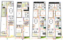 Floor plan layout plan of multi-family residential building dwg file