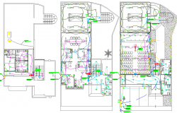 Floor plan layout with electric installation of office building dwg file