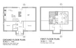 Floor plan of 2 storey residential house with detail dimension in AutoCAD