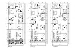 Floor plan of 3 storey residential building 8.00mtr x 19.00mtr with section in dwg file