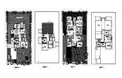 Floor plan of Bungalow with furniture detail in dwg file