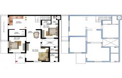 Floor plan of House with furniture details in dwg file