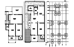 Floor plan of Residential home with roof plan in dwg file