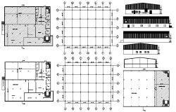 Floor plan of Warehouse 134'9'' x 100'3'' with column layout in dwg file