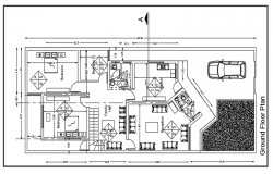Floor plan of a house with three bed rooms dwg file