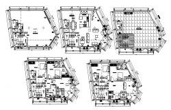 Floor plan of a residential home with detail dimension in dwg file
