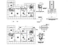 Floor plan of an office building with a section in AutoCAD