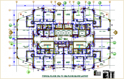 Floor plan of apartment for 29 to 38 floor view dwg file