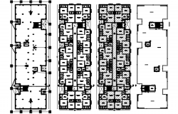 Floor plan of apartment with detail dimension in dwg file