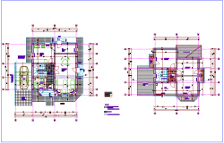 Floor plan of architectural view of house dwg file