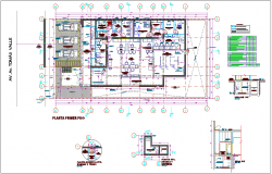 Floor plan of bank agency with architectural view dwg file