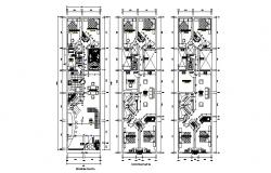 Floor plan of bungalow 6.00mtr x 20.00mtr with detail dimension in dwg file