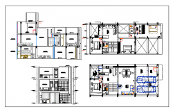 Floor plan of bungalow with ground plus one floor dwg file