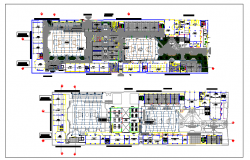 Floor plan of collage building dwg file