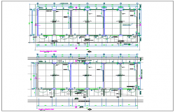 Floor plan of collage with construction detail dwg file