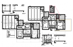 Floor plan of gypsum ceiling with construction view dwg file