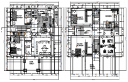 Floor plan of house 16.375mtr x 17.825mtr with detail dimension in AutoCAD