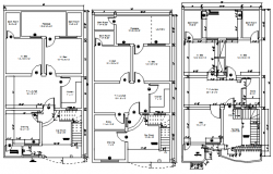 Floor plan of house 28' x 50' with detail dimension in dwg file