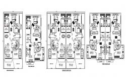 Floor plan of house 30' x 55' with furniture details in autocad