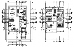 Floor plan of house 7.50mtr x 15.05mtr with detail dimension in AutoCAD