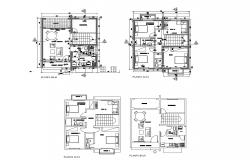 Floor plan of house design with detail dimension in dwg file
