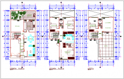 Floor plan of house with architectural view dwg file