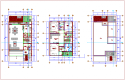 Floor plan of housing with interior view dwg file