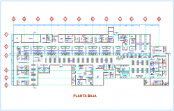 Floor plan of low view for clinic dwg file