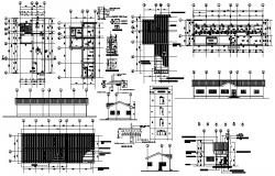 Floor plan of office building 246.00mtr 80.25mtr with elevation in AutoCAD