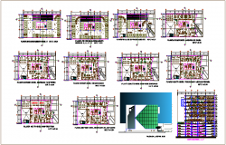 Floor plan of office building with elevation and section view dwg file