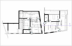Floor plan of office with architectural view dwg file