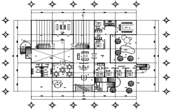 Floor plan of office with furniture details in dwg file