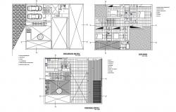 Floor plan of residence area with architecture view dwg file