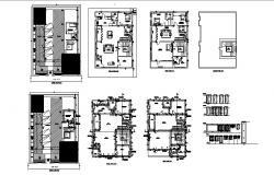 Floor plan of residential apartment 48' x 59' with detail dimension in AutoCAD