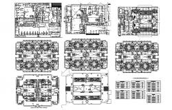 Floor plan of residential building with detail dimension in dwg file