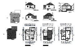 Floor plan of residential house 12.46mtr x 12.97mtr with elevation and section in dwg file