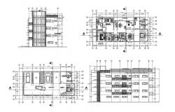 Floor plan of residential house 21.5mtr x 10.5mtr with detail dimension in dwg file