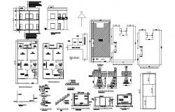 Floor plan of residential house 27'0'' x 52'0'' with foundation details in autocad  file