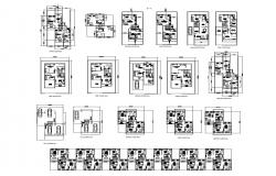 Floor plan of residential house 34'6'' x 39' with detail dimension in AutoCAD