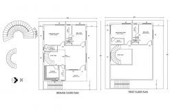 Floor plan of residential house 40' x 48' with detail dimension in AutoCAD file