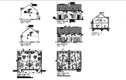 Floor plan of residential house 44'8'' x 29'10'' with detail dimension in dwg file