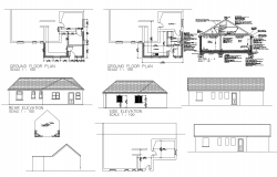 Floor plan of residential house with elevation in autocad