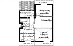 Floor plan of residential house with elevation in dwg file