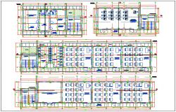 Floor plan of school with classroom view dwg file