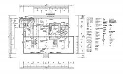 Floor plan of single-family house 60'00'' x 48'00'' with detail dimension in dwg file