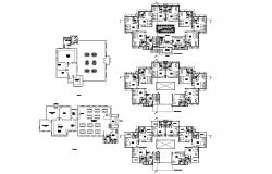 Floor plan of the guest house with detail dimension in dwg file