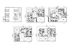 Floor plan of the house with furniture details in AutoCAD